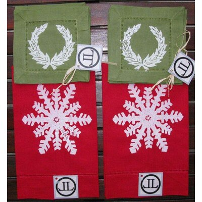 Lowcountry Linens Snowflake Guest Towel and Wreath Cocktail Napkin Set