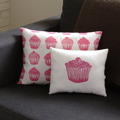 Artgoodies Cupcake All Over Pattern Block Print Accent Pillow