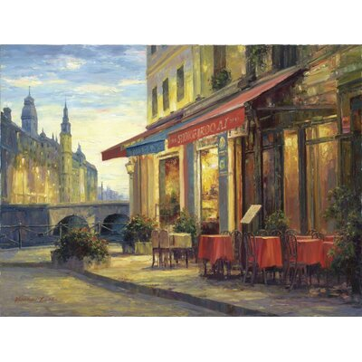 Left Bank Cafe Gallery Wrapped Canvas Art