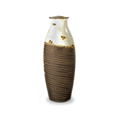 White and Brown Distressed Vase