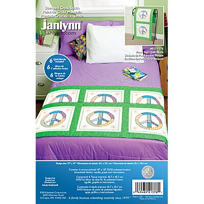 Janlynn Peace Sign Quilt Blocks Stamped Cross Stitch