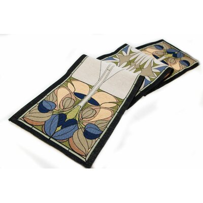 Arts and Crafts Art Nouveau Floral Window Table Runner