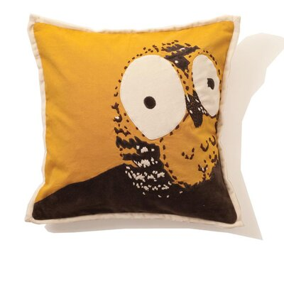 India Rose Owl Cotton Pillow