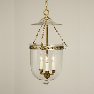 3 Light Large Bell Jar Foyer Pendant