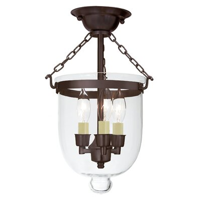 3 Light Small Bell Jar Semi Flush Mount