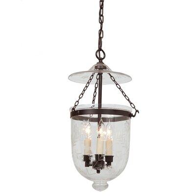 jvi designs 3 light bell jar foyer pendant with flower glass features. Black Bedroom Furniture Sets. Home Design Ideas