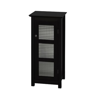 Elegant Home Fashions Chesterfield Floor Cabinet with Single Glass Door in Dark Espresso
