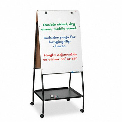 Balt Wheasel Easel Adjustable Melamine Dry Erase Board, 28-3/4 x 59-1/2, White