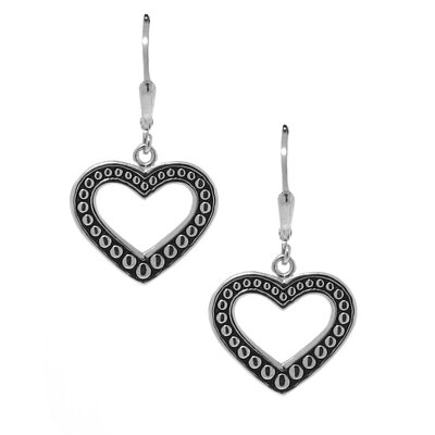 Moise Sterling Silver Beaded Heart Dangle Earrings