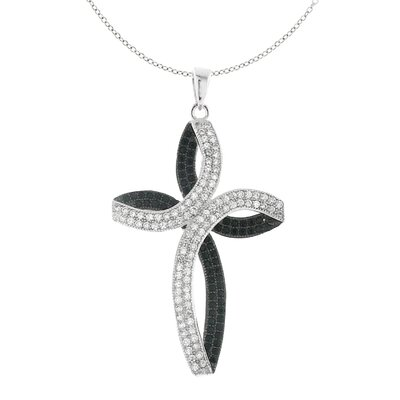 Moise Two-tone with Rhodium over Brass Sparkling Micro Pave Black & Clear Cubic Zirconia Cross Pendant Necklace