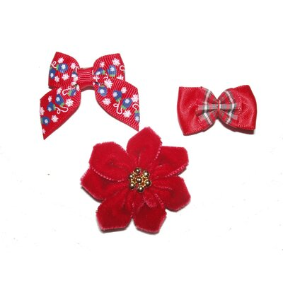A Pet's World Holiday Dog Barrettes (3 Pieces)