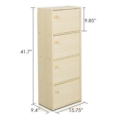 Furinno PASiR 4 Tier Bookcase with Door and Round Handle