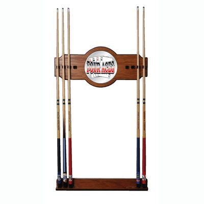 Trademark Global Four Aces 2-Piece Wood and Mirror Wall Cue Rack