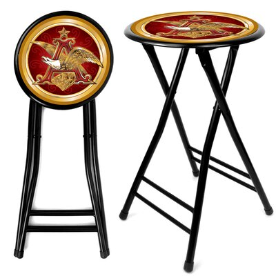 Trademark Global Anheuser Busch  A &amp; Eagle Folding Counter Stool in Black