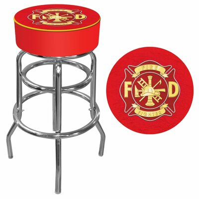 Trademark Global Fire Fighter Logo Padded Bar Stool
