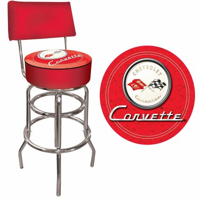 Trademark Global Corvette C1 Padded Bar Stool with Back in Red on Red