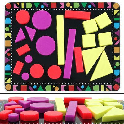 22 Piece Colorful Geometric Shaped Magnet Set with Board