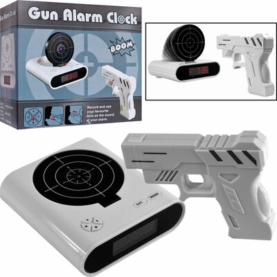 Trademark Global Gun and Target Recordable Alarm Clock