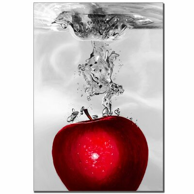"Trademark Global Red Apple Splash by Roderick Stevens, Canvas Art - 32"" x 22"""