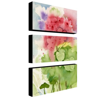 Trademark Global Pink Geranium by Sheila Golden Canvas Art (Set of 3)