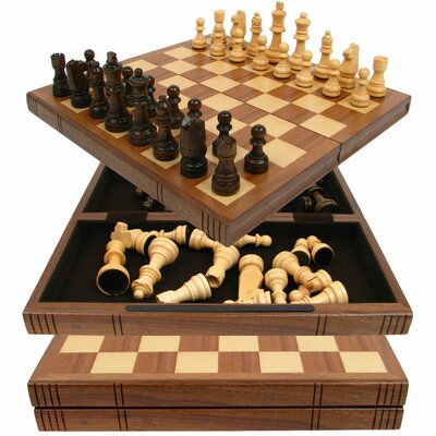 Trademark Global Chess Board Walnut Book Style with Staunton Chessmen