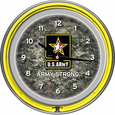 U.S Army Digital Camo Double Ring Neon Clock