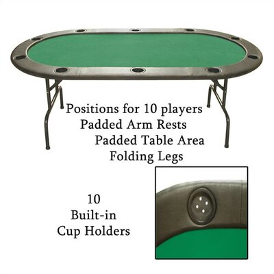 Trademark Global Full Size Texas Hold'em Green Felt Poker Table