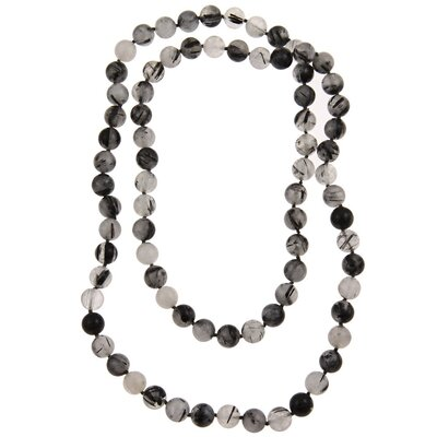 Pearlz Ocean 36 Inches Black Rutilated Quartz Knotted Necklace