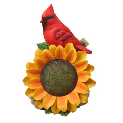 Solar Powered Cardinal with Sunflower LED Light