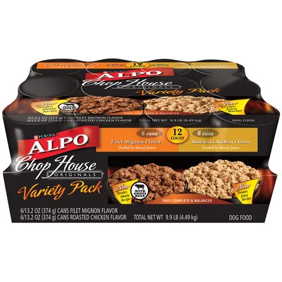 Alpo ChopHouse Originals Filet Mignon and Roasted Chicken Variety Wet Dog Food (13-oz, pack 12)