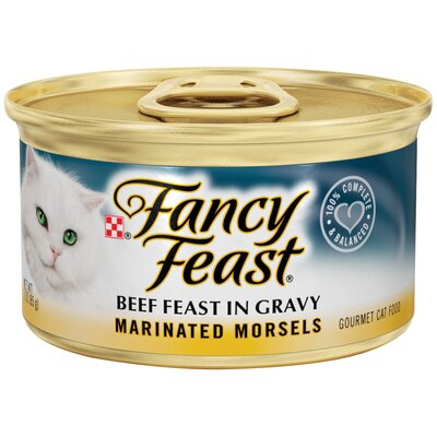Fancy Feast Marinated Morsels Beef Wet Cat Food (3-oz can,case of 24)
