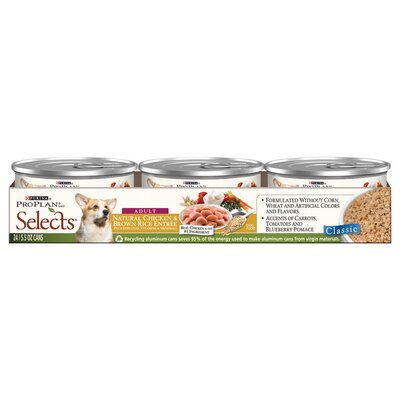 Pro Plan Selects Natural Chicken and Brown Rice Entree Wet Dog Food (5.5-oz, case of 24)