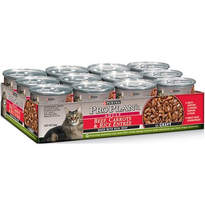 Pro Plan Beef, Carrots and Rice Entree Cat Food in Gravy (3-oz, case of 24)
