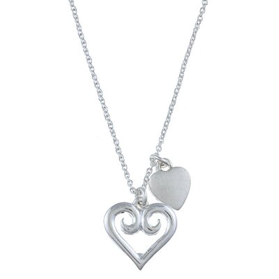 Zirconmania Silvertone Swirl Heart 'Love' Charm Necklace