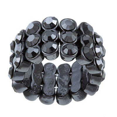 Gunmetal Crystal 3-Row Stretch Fashion Ring