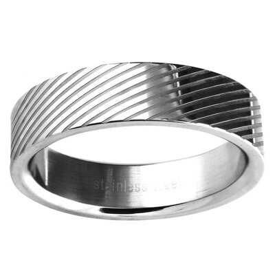 Trendbox Jewelry Ladies Lined Wedding Band Ring