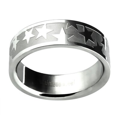 Trendbox Jewelry Men's Etched Star Wedding Band Ring
