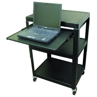 "Buhl Adjustable Steel AV Cart (26"" to 42"" High) with Pull-Out Shelf"