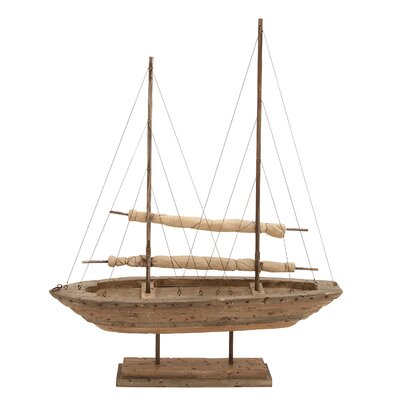 Woodland Imports Wood Sail Boat Decor
