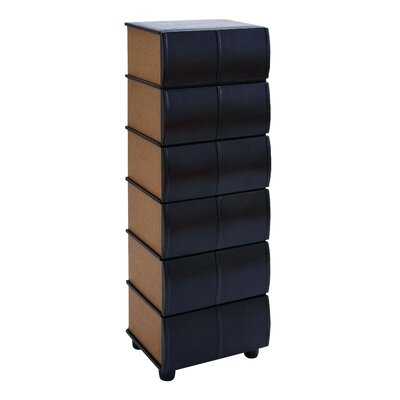 Woodland Imports Leather Books 6 Drawers Dresser