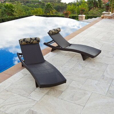 RST Outdoor Delano Wave Chaise Lounger with Cushion (Set of 2)