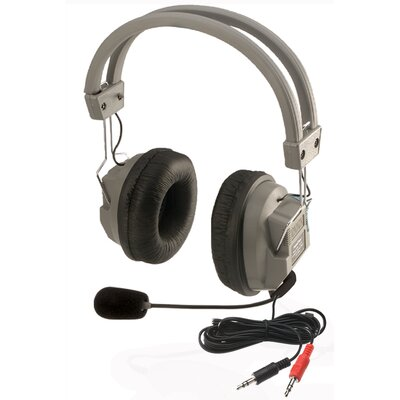 Hamilton Electronics Stereo Headphone with Built-In Boom Microphone in Medium Gray