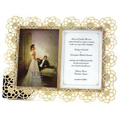 Fetco Home Decor Romance June Floral with Gemstone Photo Frame