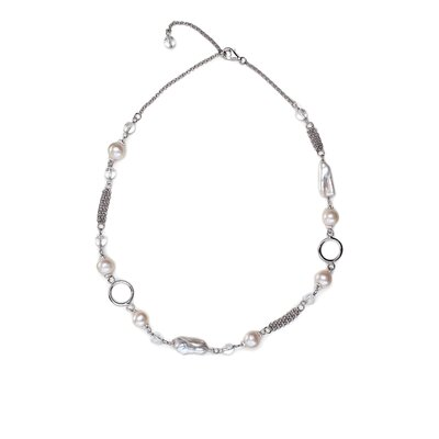 Eco Opulence Silvers and Quartz Multi Textured Pearl Necklace