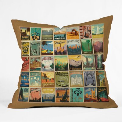 DENY Designs Anderson Design Group City Pattern Border Indoor/Outdoor Polyester Throw Pillow