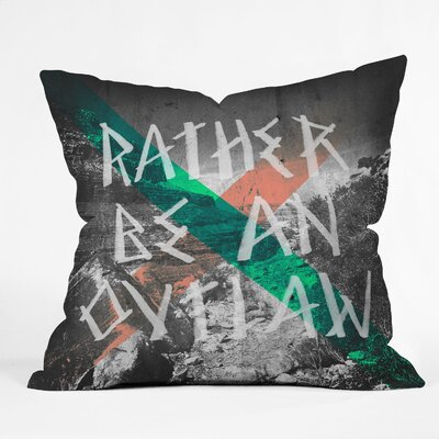DENY Designs Wesley Bird Rather Be An Outlaw Indoor/Outdoor Polyester Throw Pillow