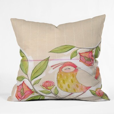 DENY Designs Cori Dantini Little Bird On A Flowery Branch Indoor / Outdoor Polyester Throw Pillow