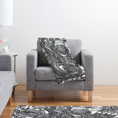 DENY Designs Valentina Ramos Bird in Flowers Black White Polyester Fleece Throw Blanket