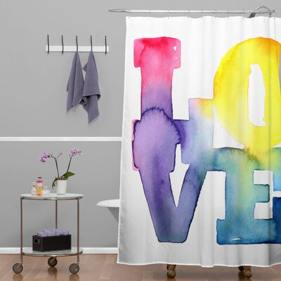 DENY Designs CMYKaren Love 4 Polyester Shower Curtain