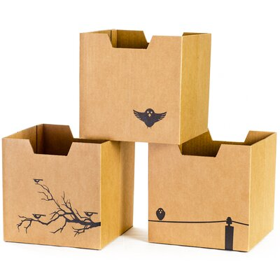 Sprout Cardboard Bird Cubby Bins (Set of 3)